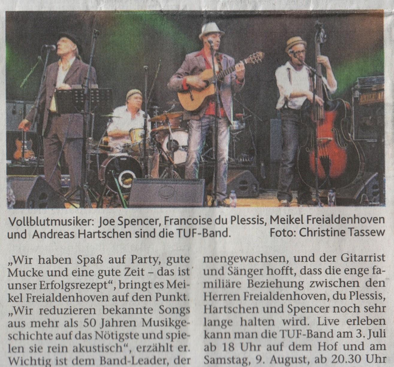 Aachener Zeitung am 27.6.2014 / TUF 2 x umsonst + draußen